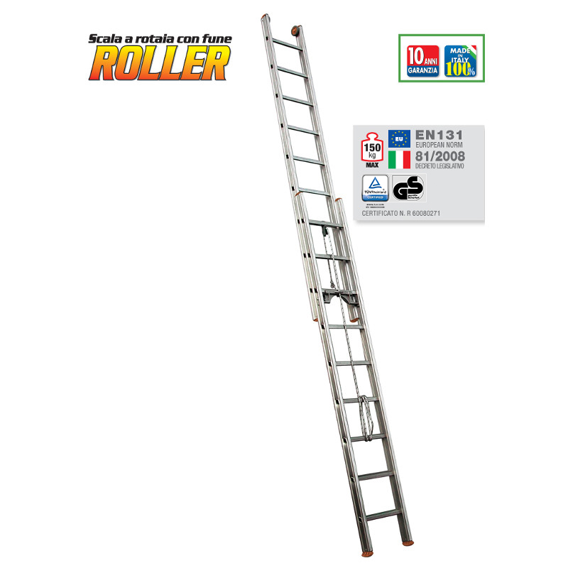 ROPE-OPERATED EXTENSION LADDER ROLLER