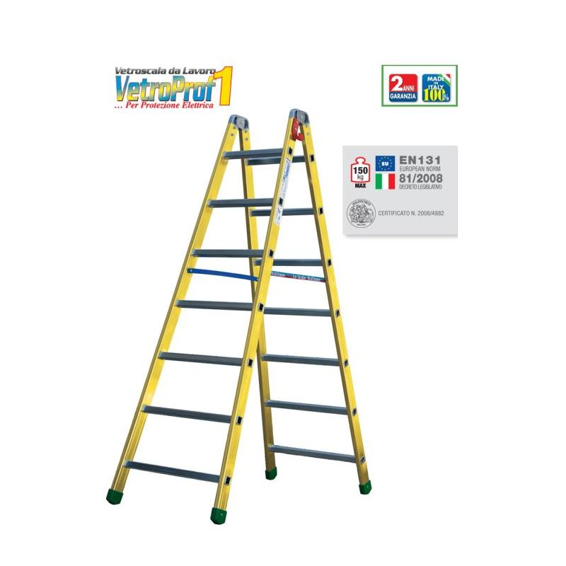 FIBERGLASS DOUBLE-SIDED RUNG STEPLADDER VETROPROF 1